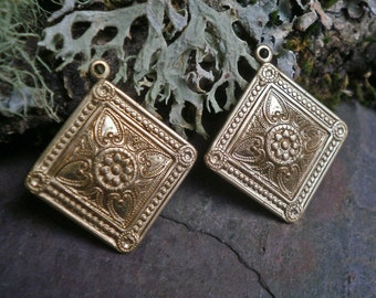Raw Brass Stamping Square Drops Pair