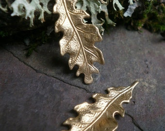 Raw Brass Stamping Small Oak Leaf Pair