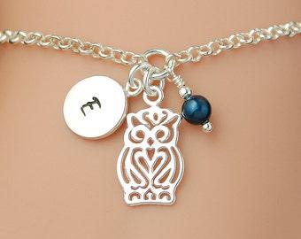 Sterling Silver Owl Bracelet, Personalized Bracelet, Birthstone Bracelet, Initial Bracelet, Charm Bracelet, Mothers Bracelet WB102