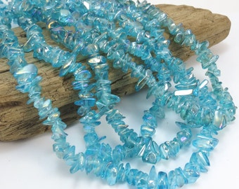 Blue Glass Beads, 36 inch Blue Glass Beads with Aurora Borealis Finish, Beading Supplies, Item 909gs