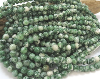 Tree Agate Beads, Natural 4mm Round Tree Agate Beads, 16 inch Strand, Green 4mm Beads, Beading Supplies, Item 813pm