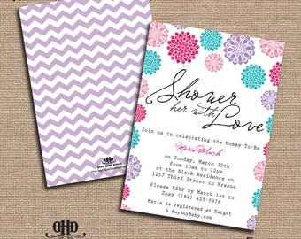 CUSTOM Baby Shower Invitation - Girly Floral