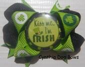 "Dog Bow- ""KISS ME I'M Irish"" St Patrick's Boutique Bow"