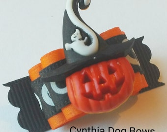 Halloween Dog Bow 5/8 Jack 0'Lantern with Ghost Witch Hat