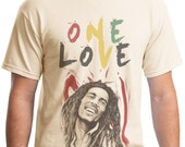 Bob Marley One Love Awesome T-Shirt Tan Cotton Unisex Gildan 5000 Tee
