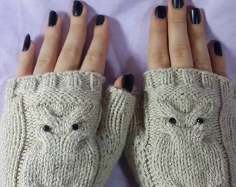 Fingerless Mittens Gloves Hand Knit , Fingerless Gloves with Owl