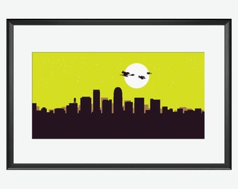 Winston Skyline print, Winston print, Winston art, Winston poster, Salem witches, Witches art, Witches print, Witches illustration, Witches
