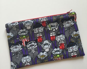 Vampires at the Movies Zipper Bag, Zipper Pouch, Cosmetic bag, Cosmetic Pouch, Makeup bag, Makeup pouch, Pencil Bag, Pencil Pouch, Halloween