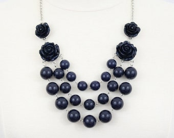 Layered Beaded Necklace with Roses Navy Blue Statement Necklace Rosette Bib Necklace Flower Statement Necklace Chunky Beaded Necklace