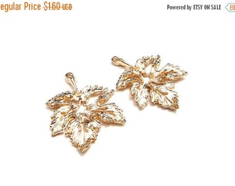 ON SALE Rose Gold Maple Leaf Charm- Set of 2    -249-