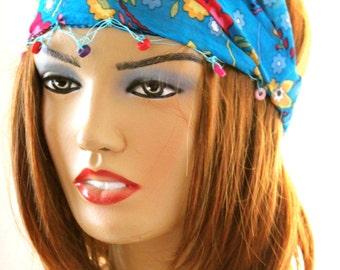 turquoise flowers headband, Hair Bands Boho - headband - cotton headband , spring hairband, accessories - woman accessories , blue hairband