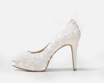Rosie V2 Ivory Lace Wedding Shoes,Ivory Lace Satin Bridal Heels,Ivory Lace Peep Toe Wedding Shoes, Ivory Lace Bridal Heels