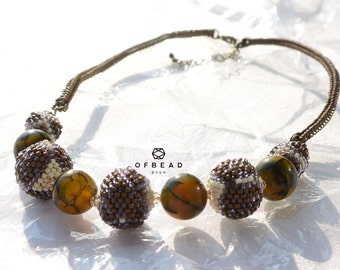 15.10.2 Coral Echo - necklace in lavendar and bronze