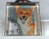 Corgi Queen Elizabeth England Puppies Dogs UK Waddle Genuine Postage Stamp Pendant Key Ring