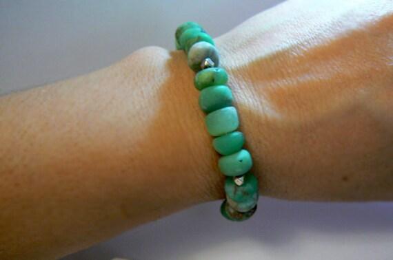 Chrysoprase bracelet. Green gemstone chunky bracelet. Fashion boho bracelet. Chrysoprase jewelry - Women jewelry gift