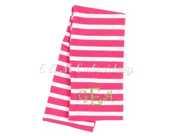 Personalized Monogrammed Pink Stripe Kid's Infinity Scarf