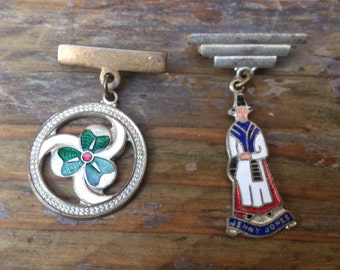 two vintage enamel bar brooches/pins