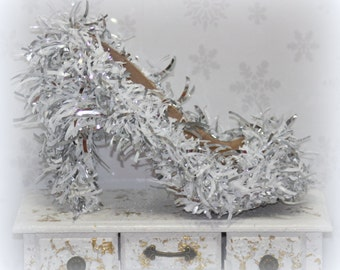 Opulent Silver Shoes - Silver Wedding Shoes - Womens Shoes Size 8 - Snowflake Wedding - Winter Wonderland - Christmas Wedding