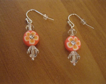 Orange, Pumpkin, Coral Earrings, Silver Findings,Dangle Earrings, Nickel Free Earrings, Silver Earrings, Coral Crystal Earrings, Pumpkin