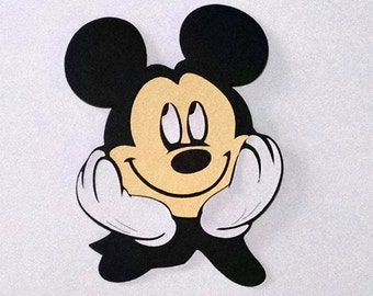 15 Mickey Mouse face 3 inch die cuts card stock