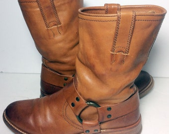 Frye 77923 Maxine Cognac Smooth Leather Riding Biking Motorcycle Boots Women's Size 7