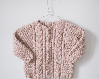 Baby merino cardigan / Hand Knit Baby sweater / Baby Clothes / Hand Knitted sweater for Babies