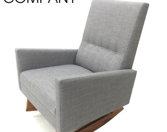New Custom Hand-crafted Mid Century Danish Modern Nursery Rocker Rocking Chair Lounge Baby