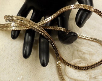 Vintage Les Bernard Double Herringbone Chain Necklace