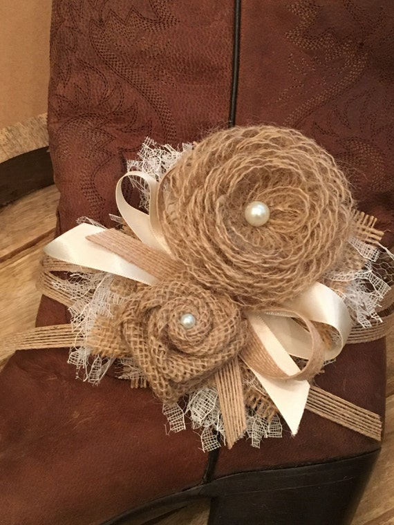 Rustic Country Wedding Corsage, Boot Tie, Garter, Headband or Wristlet Loop Burlap Flowers Ribbon Baby Shower