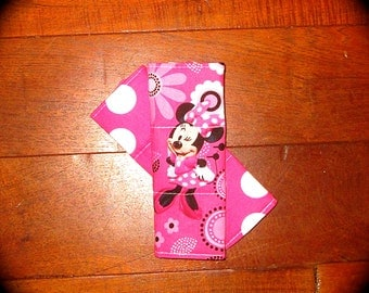 Car Seat Strap Covers- Minnie Mouse with Reversible Pink and White Polka Dots or Pink Minky.