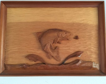 Fish Wood Relief Carving by GT 1973