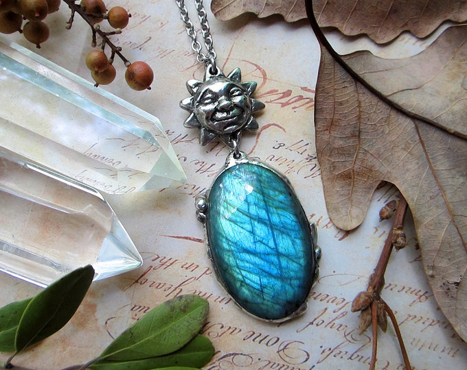 """Necklace """"Celestial Jorney"""" with teal labradorite paired with smiling Sun pendant. Custom length stainless steel chain."""