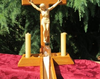 Wooden Crucifix for Sick Room with Holy Water, Candles, Holders and Instructions
