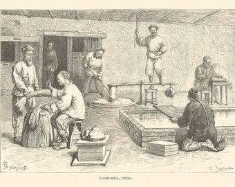 Paper Mill China Workers Working steel engraving Topograhical Print 1870 Wall Art Home Decor Vintage Print Antique print
