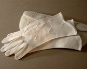 Vintage white gloves, gauntlet length, cotton, 1950's, hand stitched, chevron detail,  clear beads, size 7, dress, bridal, wedding.