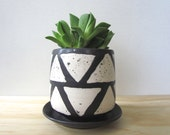 Medium Black Matte Triangle Planter. Succulent planter. Herbs. Modern home decor. Drainage hole and dish. Gift idea. MADE TO ORDER.