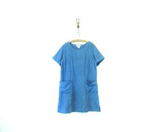 Short Linen Tunic / Natural Linen Dress with Pockets / Vintage J Jill
