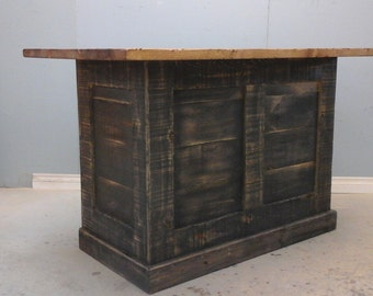 Rustic  Wood Kitchen Island / Industrial  Design  Kitchen / Counter High  Table / One Sale