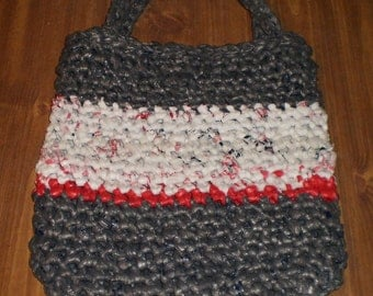 Small Gray, White and Red Crochet Shopping ( Grocery ) Tote Bag Made with Plarn