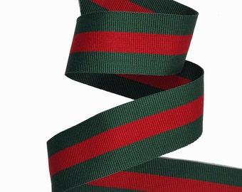 Red Green Striped Gross Grain Ribbon, Double Face Trim, DIY Choker Trim, DIY Belt Trim