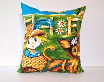 Pillow cover Donkey and foal Rustic rural country scene cushion cover made from vintage tea towel