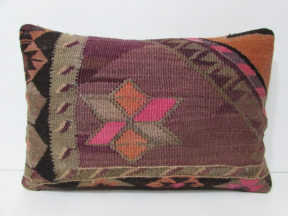 kilim pillow fancy 16x24 red decorative by DECOLICKILIMPILLOWS