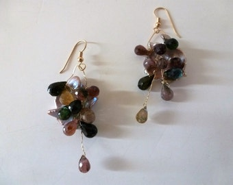 Pearls 'N Gems Earrings - glossy giant flameball Keishi pearls pouring wired tourmaline briolettes, all on 14kt goldfill.