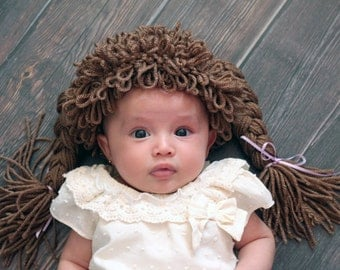Baby Halloween costume  -  Cabbage patch doll hat - baby cabbage patch doll hat - cabbage patch wig - 80's baby hat - photo prop ideas