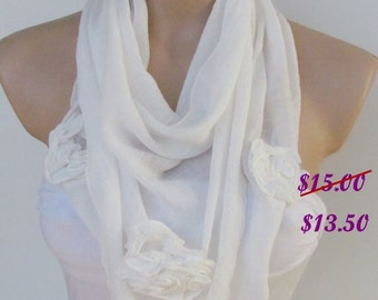 White Scarf with Rose -Triangle Shawl Scarf-New Season-Necklace-Lariat- Neckwarmer- Infinity Scarf-Mother's Day Gift