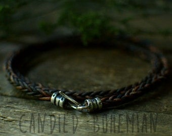 Sterling Silver - Mens Leather Bracelet, Leather bracelets, Men Jewelry, Gift for Him, Men bracelets, Tibetan Bracelet, Surfer Bracelets