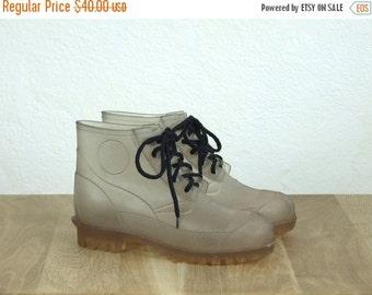 ON SALE 90's vintage womens transparent rain rubber boots