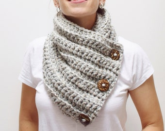 Chunky Scarf - Button Scarf - Chunky Bulky Crochet Knit Warm Cowl Neckwarmer Scarf - The Andrea - Three Button Scarf  Gray Marble RTS