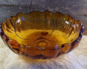 Vintage Amber Sunflower Serving Bowl Glass Salad Bowl Petals Collection Collectible Glass Vintage Kitchen