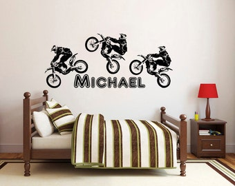 Vinyl Name Wall Decals Motorcycle Sport Decal Motorcyclist Sticker Nursery  Baby Boy Room Bedroom Kids Home